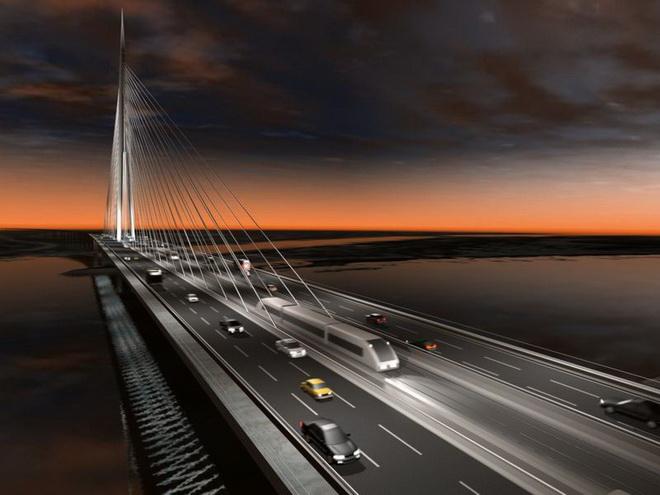 New bridge over Sava river - Belgrade, Serbia